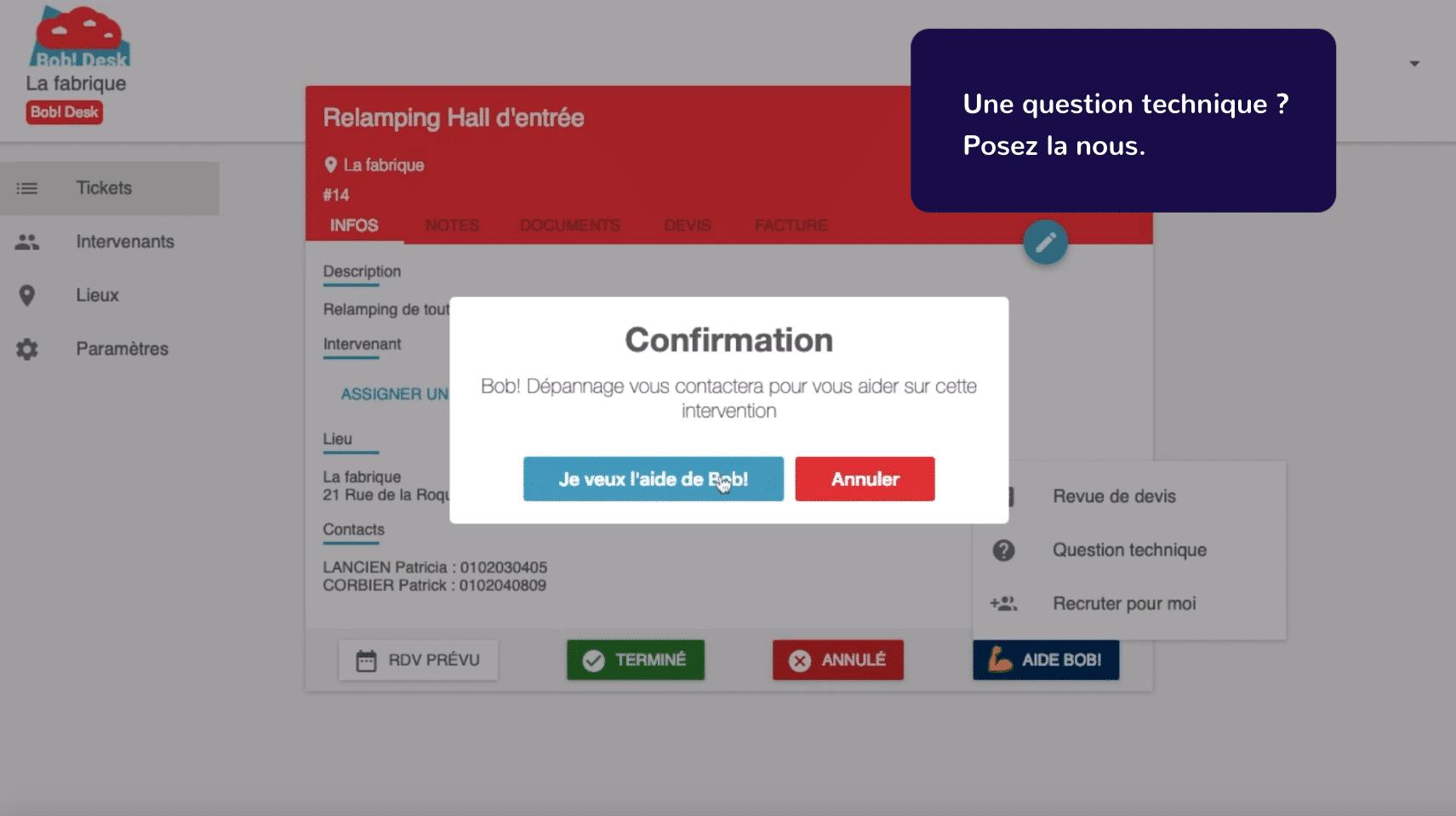 Logiciel de maintenance Bob! Desk - faire vos demandes de maintenance vous prend une minute- copie d'écran