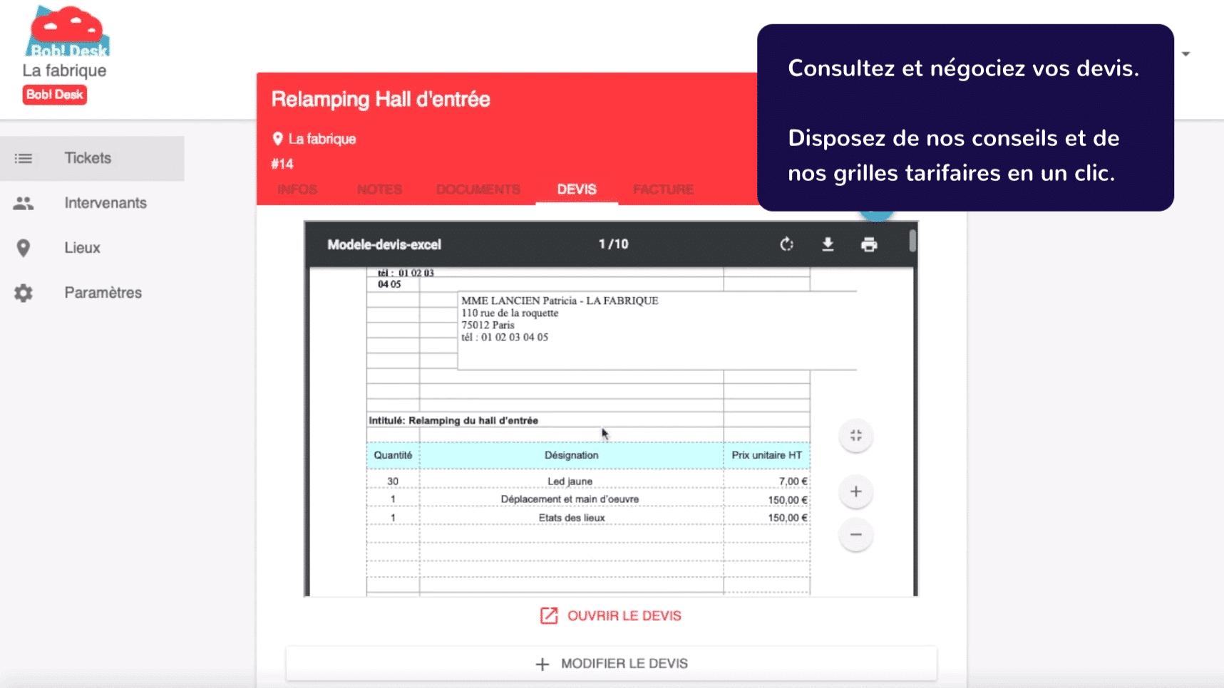 Logiciel de maintenance Bob! Desk - recrutement sur mesure d'artisans qualifiés pour votre intervention - copie d'écran