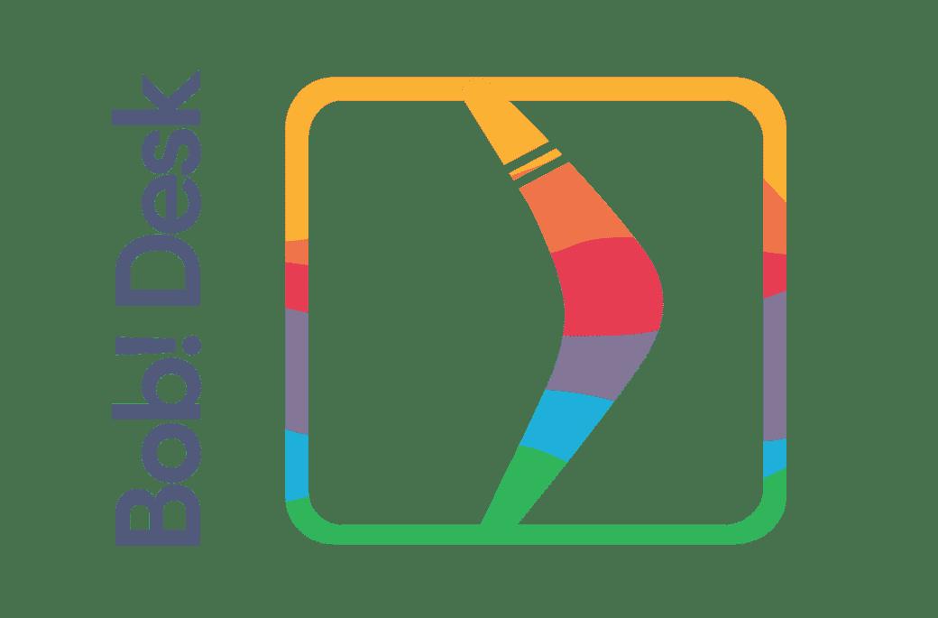 Logo Carré avec Bob! Desk vertical - boomerang blanc sur fond multicolors