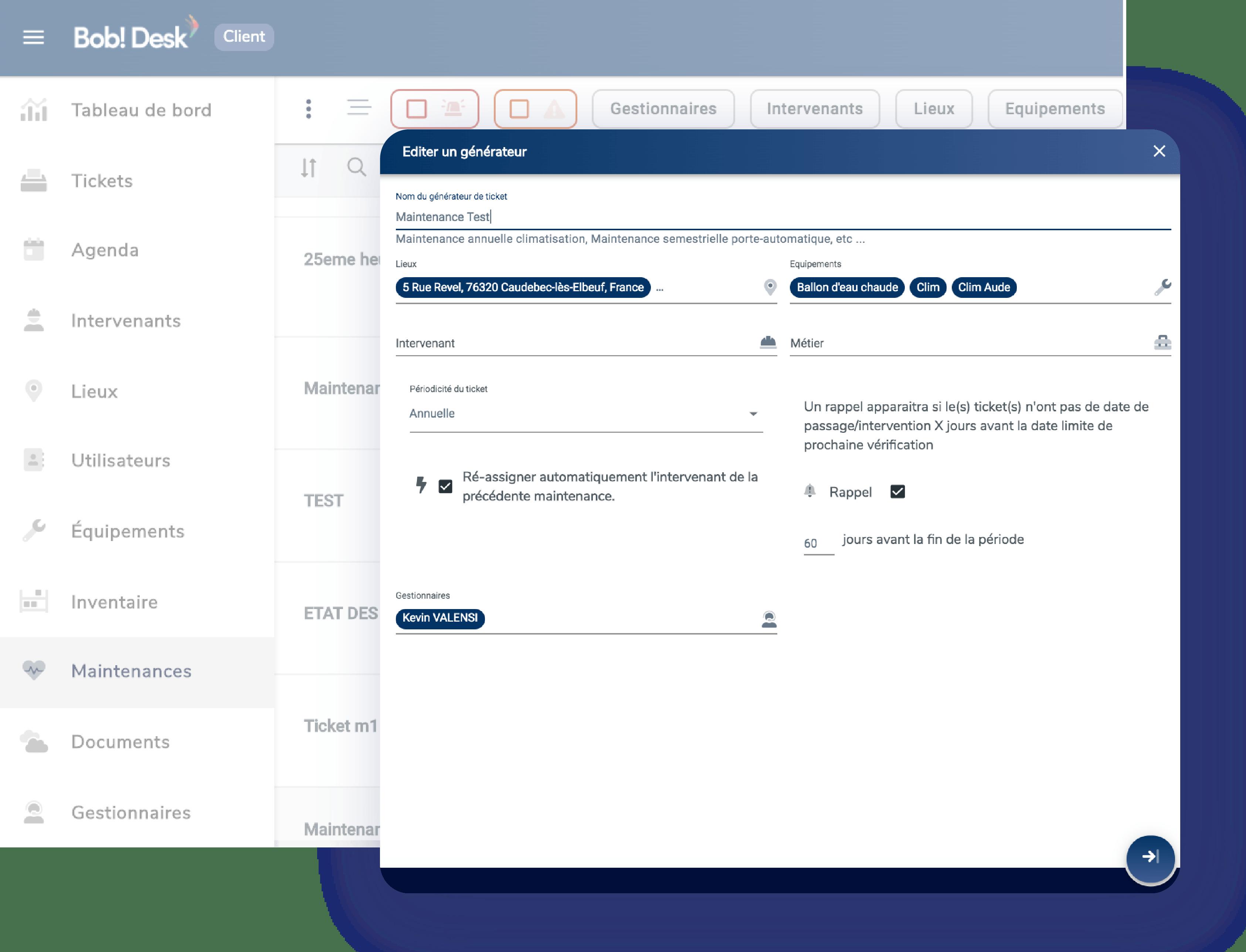 Bob Desk - GMAO - Maintenance fonctionnalites - gestion